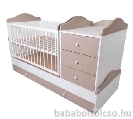 Kinder Möbel RENI HIP-HOP 70x120 cm ringatható kombiágy cappucino-fehér KÉSZLETHIÁNY