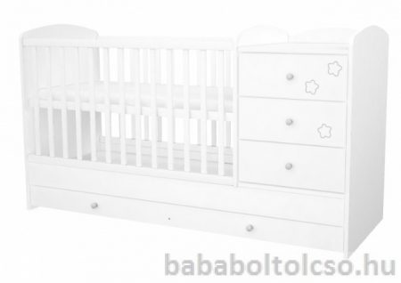 Timba FÉLIX 60x120 cm 3 fiókos kombi gyermekágy fehér