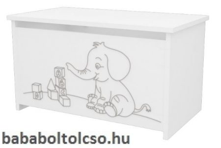 Timba elefántos játéktároló láda fehér