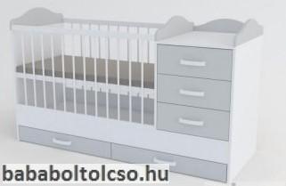 Reni kombi babaágy-Fehér Szürke - fehér rács, és fogantyú 60*120
