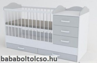 Kinder Möbel RENI 60x120 cm kombiágy fehér-szürke-fehér KÉSZLETHIÁNY
