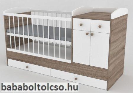 Kinder Möbel BOGI 70x120 cm kombiágy sötét sonoma tölgy-fehér egyenes ív