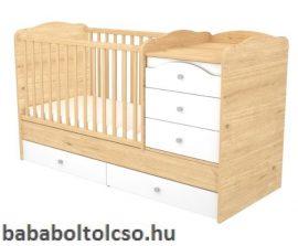 Timba FANNI 70x120 cm 5 fiókos maxi kombi gyermekágy mandula-fehér