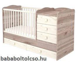 Timba VIKI 70x120 cm 5 fiókos maxi kombi gyermekágy krém-fűz