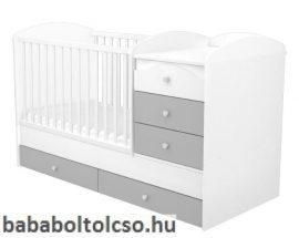 Timba ERIK 70x120 cm 5 fiókos maxi kombi gyermekágy ezüst-fehér