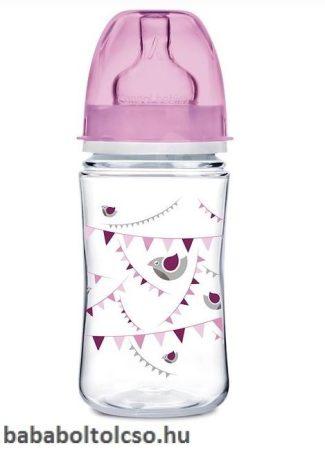 Canpol babies PARTY Széles nyakú cumisüveg 240 ml rózsaszín
