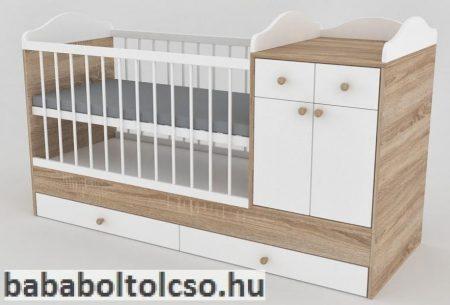 Kinder Möbel BOGI 70x120 cm kombiágy sonoma tölgy-fehér kalapos ív