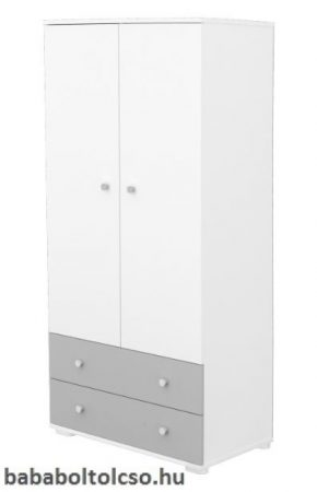2 ajtós 2 fiókos szekrény - Ezüst-fehér