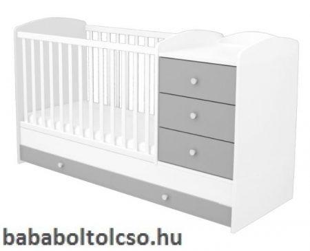 Timba ERIK 60x120 cm 3 fiókos kombi kiságy ezüst-fehér