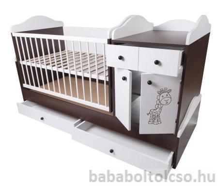 Kinder Möbel BOGI HIP-HOP 70x120 cm ringatható kombiágy dió-fehér