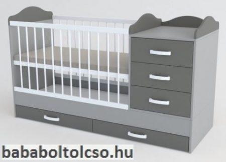Kinder Möbel RENI 60x120 cm kombiágy világos szürke-közép szürke-fehér KÉSZLETHIÁNY