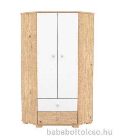 Sarokszekrény 2 ajtós 2 fiókos - Mandula-fehér