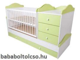 Kinder Möbel RENI HIP-HOP 70x120 cm ringatható kombiágy zöld-fehér KÉSZLETHIÁNY