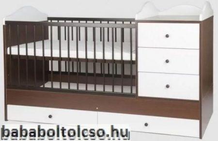 Kinder Möbel RENI 70x120 cm kombiágy dió-fehér