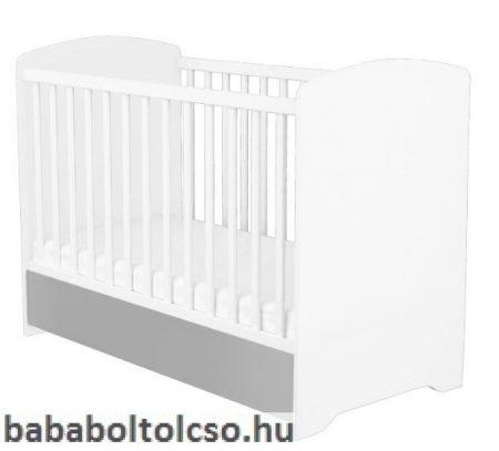 Zárt végű ágyneműtartós kiságy - Ezüst-fehér