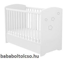 Timba FÉLIX 60x120 cm zárt végű kiságy ágyneműtartós csillagos fehér