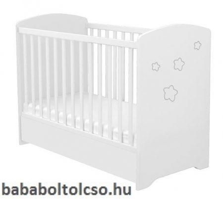 120 - as Zárt végű Gyermekágy Ágyneműtartós Félix-fehér Csillagmintás