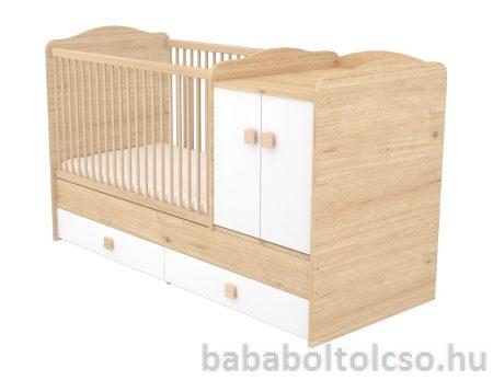 Timba FANNI 70x120 cm 2 ajtós maxi kombi gyermekágy mandula-fehér