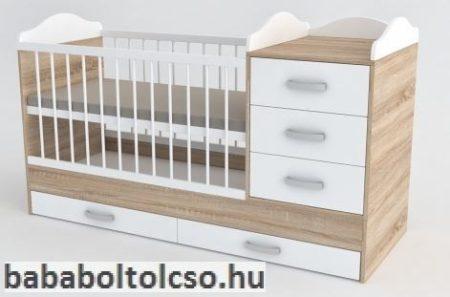 Kinder Möbel RENI 70x120 cm kombiágy sonoma tölgy-fehér KÉSZLETHIÁNY