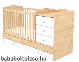 Timba FANNI 60x120 cm 3 fiókos kombi gyermekágy mandula-fehér