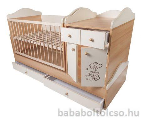 Kinder Möbel BOGI HIP-HOP 70x120 cm ringatható kombiágy bükk-bézs KÉSZLETHIÁNY