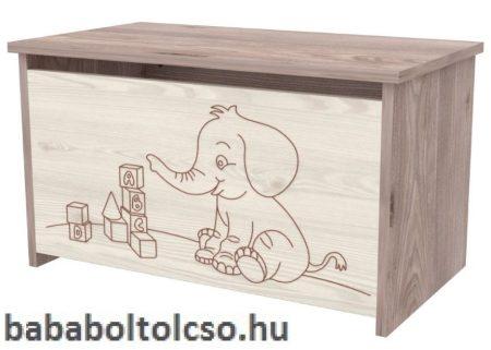 Játéktároló láda elefántos VIKI Krém - fűz